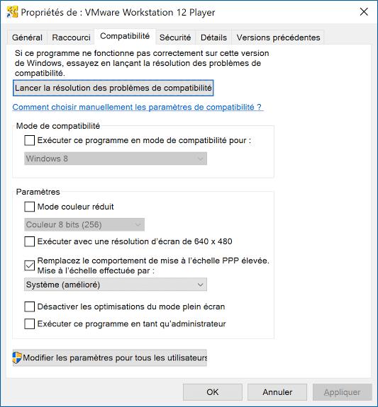 Paramètres de compatibilité manuelle dans Windows 10