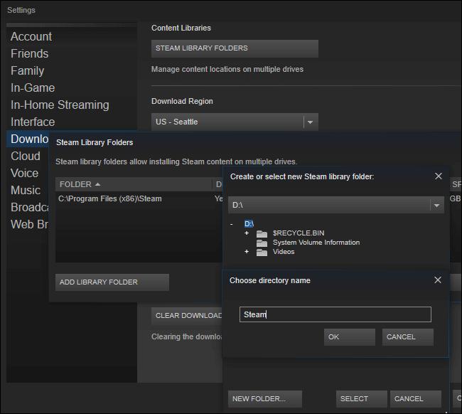 Créez un deuxième dossier Steam